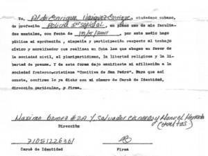 DOCUMENTO DE AFILIACIÓN DE ALDO ENRIQUE A LA ORGANIZACIÓN COMITIVA DE SAN PEDRO