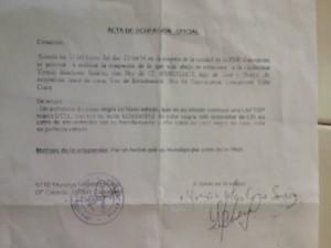 Acta de ocupación de la laptop a mi esposa Yoaxis Marcheco. ¨Por un hecho que investiga la PNR¨