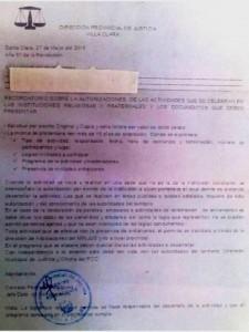 """Carta de Reacción al evento realizado el 17 de mayo en la Logia Masónica """"Urania – Dr. Mortera"""" de Zuleta, Villa Clara, Cuba. Se oculta a proposito el nombre de la Logia a la que se remite para evitar mayores represalias contra la misma por habernosla facilitado."""